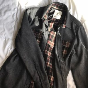 Urban Outfitters Heavy Plaid and Gray Button Down
